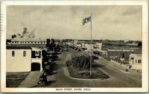 Sayre, Oklahoma Postcard MAIN STREET Downtown Scene Eagle PC / 1946 Cancel