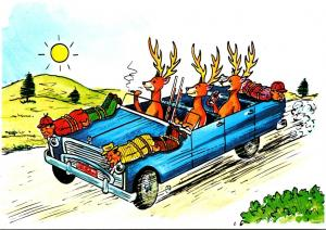 Hunting Humour Deer In Car With Hunters Tied To Hood A Hunting We Will ...