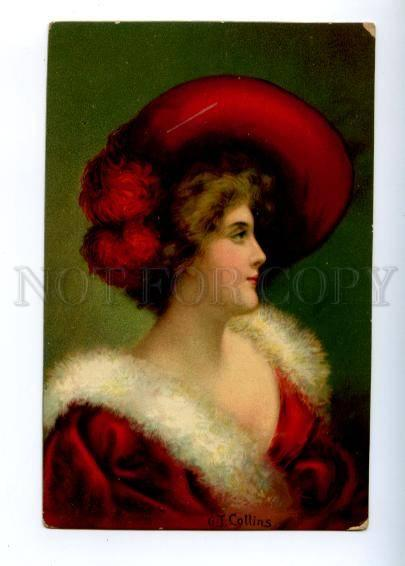 161264 Belle Lady in Red Dress & Hat by COLLINS Vintage PC
