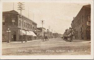 Prince Albert SK Central Avenue JC?  RPPC c1917 Military Cancel Postcard F29