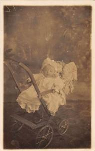 Baby in Wooden Stroller Real Photo Antique Postcard J79761