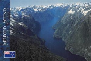 New Zealand Milford Sound, Aerial view of the Sound Mountains Panorama