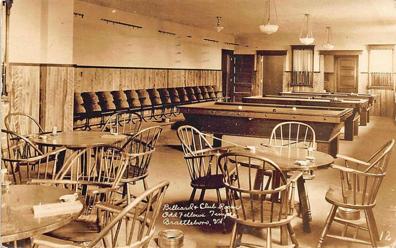 Brattleboro VT Pool Room Billiards Spitoon Odd Fellows Temple RPPC  Postcard