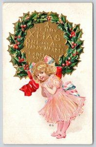Christmas Nations~Lil Blonde Girl in Pink~Red White blue Bow~Holly Wreath~NASH