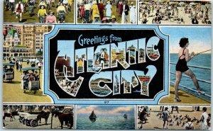 ATLANTIC CITY Multi-View Postcard Beach Boardwalk Scenes KROPP Linen 1950 Cancel
