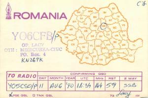 Romania Radio Amateur QSL card country map Miercurea Ciuc Harghita