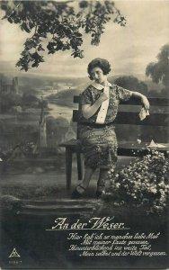 AK Frau an der Wesser nostalgic woman poem poetry postcard c.1928