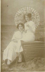 Postcard retro vintage outfits charming ladies parasol