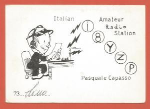 QSL AMATEUR RADIO CARD – NAPLES, ITALY – 1980 – CARTOON IMAGE