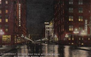 Iowa Des Moines Locust Street Looking East From Seventh Street By Night 1914 ...