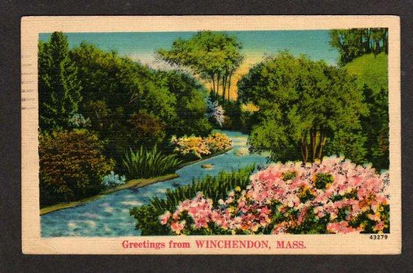 MA Greetings from WINCHENDON MASS Postcard Linen PC