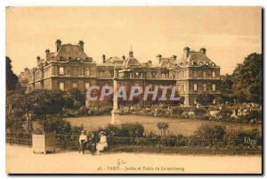 Old Postcard Garden Paris and Luxembourg Palace