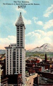 Washington Seattle The 42 Story L C Smith Building and Mt Rainier Curteich