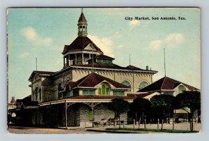 San Antonio TX, City Market, Vintage Texas c1910 Postcard