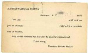 Ramseur Broom Works, Ramseur, North Carolina, 1912, Salesman call  notice pos...