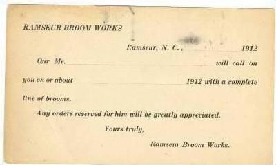 Ramseur Broom Works, Ramseur, North Carolina, 1912, Salesman call  notice pos...
