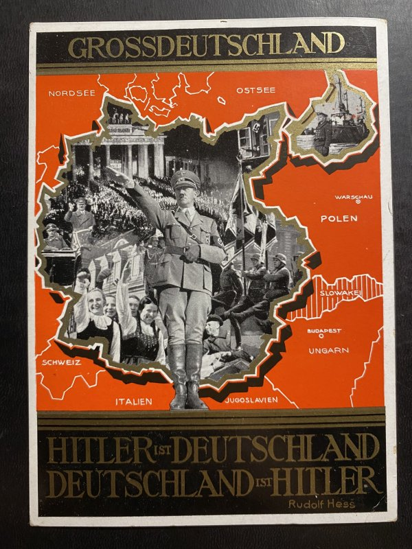 1939 Prague Germany Patriotic Picture Postcard cover Hitler in Germany 3rd reich