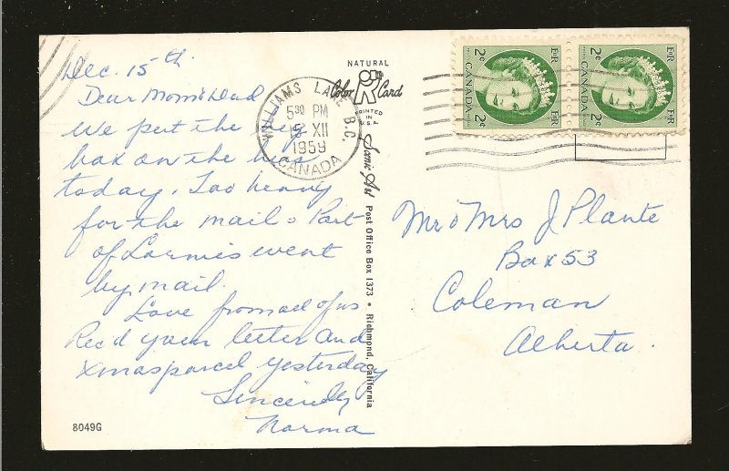 Postmarked 1959 Williams Lake BC Heart of Cattle Country Postcard