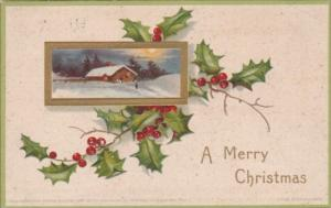 Christmas Holly and Winter Landscape Scene 1907 Clapsaddle