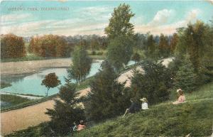 Toledo Ohio~Children on Hillside Bank at Ottawa Park~1907 Postcard