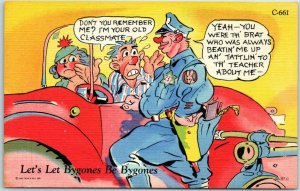 1940s RAY WALTERS Comic Postcard Let Bygones be Bygones Curteich Linen #C-661