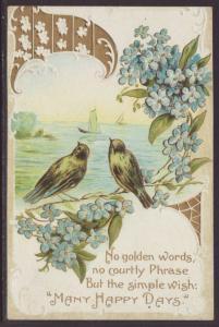 Many Happy Days,Birds,Flowers Postcard