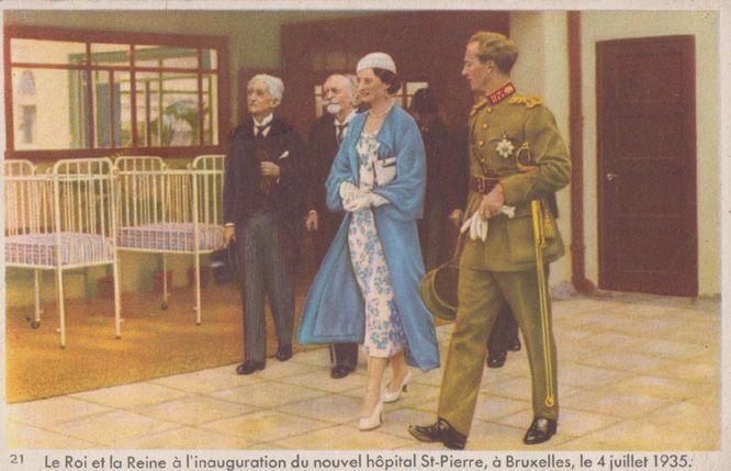 Le Roi Albert At La Reine Visit St Pierre Hospital Bruxelles Old Royal Postcard