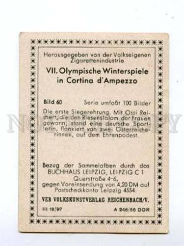 166988 VII Olympic OSSI REICHERT German skier CIGARETTE card