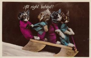 RP: Four Dressed Kittens sledding, All right behind!, 1920-40s
