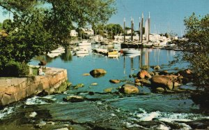 Vintage Postcard View Harbor & Falls From Balcony Of Smiling Cow Camdem Maine ME