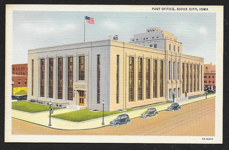 Post Office Sioux City Iowa Unused c1935