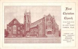 Tampa Florida First Christian Church Antique Postcard J66586