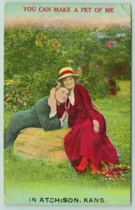You Can Make a Pet of Me In Atchison Kansas~Victorian Couple on Rock~c1910