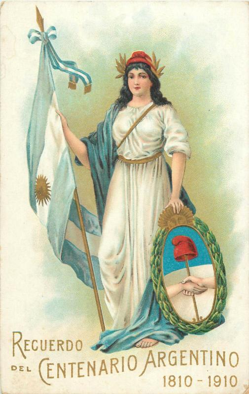 Argentinian centennial allegory lady flag Argentina heraldry 1910 advertising pc