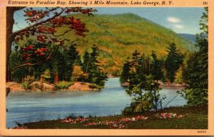 New York Lake George Entrance To Paradise Bay Showing 5 Mile Mountain 1951