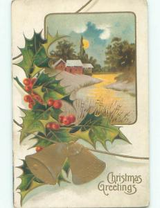 Pre-Linen christmas RIVER BY SNOW-COVERED HOUSE WITH GOLDEN BELLS & HOLLY k1362