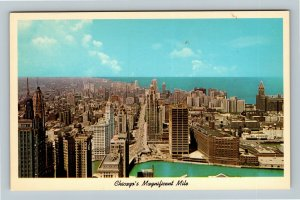 Chicago IL, Birds Eye View Of Magnificent Mile, Chrome Illinois Postcard
