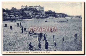 Old Postcard Arcachon Cote d & # 39Argent Beach and Grand Hotel