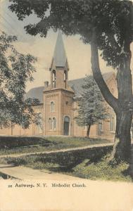 Antwerp NY Handcolored~Methodist Church w/Narrow Belltower Windows~C1910 PC