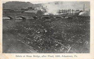 LPS40 Erie Pennsylvania Debris at Stone Bridge 1889 Johnstown Flood Postcard