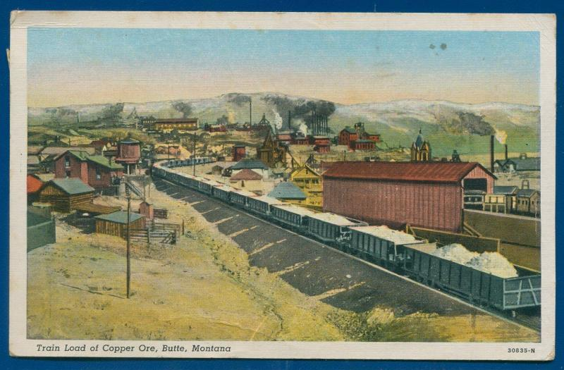 Train railroad load of copper ore Butte Montana mt linen postcard