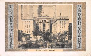 U.S. Grant Hotel, San Diego, California, Early Postcard, Used in 1931