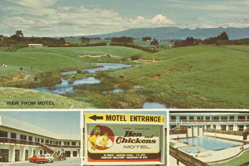 Hen & Chickens Motel Bell Block New Plymouth New Zealand NZ Unused Postcard D27