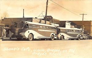 Union OR Shank's Cafe Greyhound Bus Restaurant RPPC Postcard