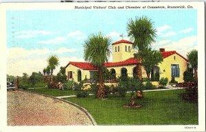 Municipal Visitors' Club Brunswick GA Vintage Postcard Standard View Card