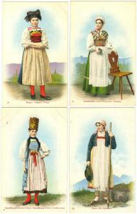 4 - Native Costume, Schaffhausen, Aargau, Tessin, Graubunden