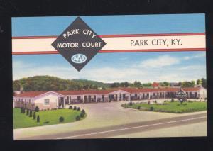 PARK CITY KENTUCKY MOTOR COURT MOTEL VINTAGE LINEN ADVERTISING POSTCARD KY.