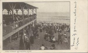 Ross Pavilion and Bathing Scene, Ocean Grove, N.J., Early Postcard, Used in 1904