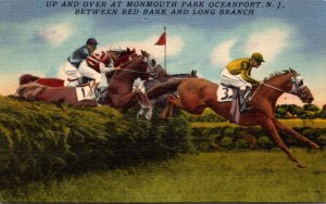 New Jersey Oceanport Monmouth Park Horse Racing Jumping Hurdles