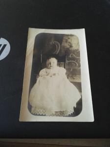 Vtg Postcard: Scary Looking Baby in Christening Gown, Circa late 1800s